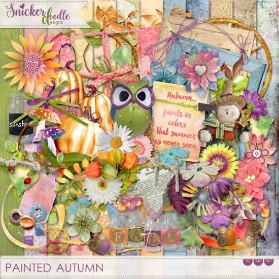 Painted Autumn Digital Scrapbook Kit SnickerdoodleDesigns