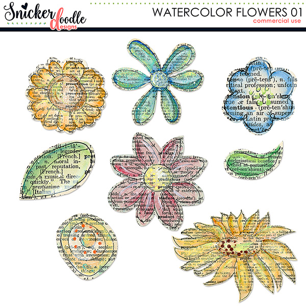 Watercolor Flowers SnickerdoodleDesigns