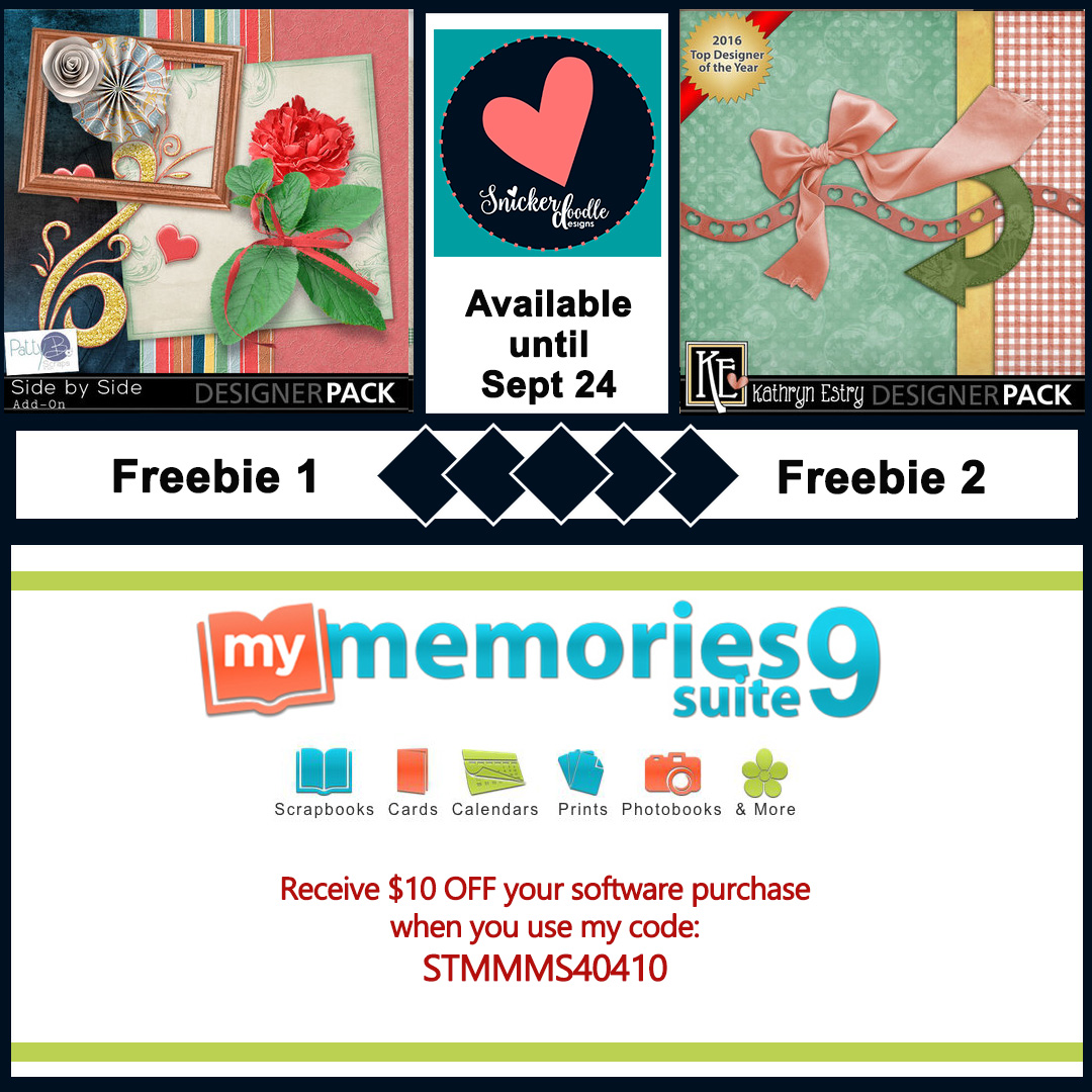 MyMemories new weekly freebies have been posted! Downloading these freebies is a great way to explore the design style of designers new-to-you, and also to build your stash!  You don't have to be a MyMemories software user to download and use these freebies. Any software that uses PNG or JPG fileswill work. Just click on the FREEBIE links below, sign into the store, put the freebie in your cart, and check out. That's it!  LINKS EXPIRE January 28th SO HURRY ON OVER AND DOWNLOAD THESE FREEBIES NOW!  However, if you would like to give MyMemories atry, you can download a free trial HERE.  If you decide MyMemories is for you, please use this code: STMMMS40410to receive $10 off your software purchase, as well 20% off a photobook or photo gift purchase, AND a coupon for a FREE month with the Design Club. Design Club membership gives you 5-20% off purchases depending upon how long you retain your membership. Very cool!  This week's freebie links are below. And be sure to pick up my Blog Train contribution, if you haven't already! Download Freebie #1 Download Freebie #2 Click on the image below to download my Blog Train freebie! Thanks for stopping by today!
