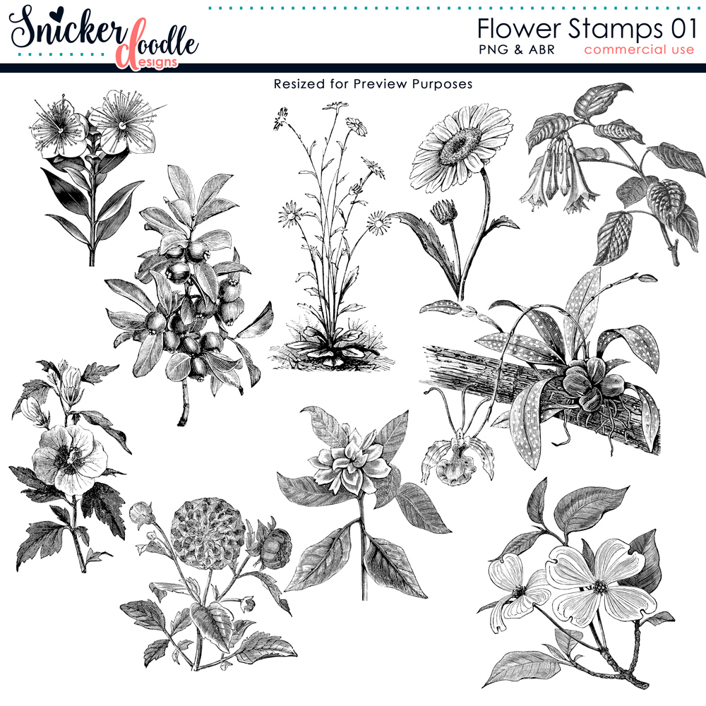 Flower Stamps SnickerdoodleDesigns