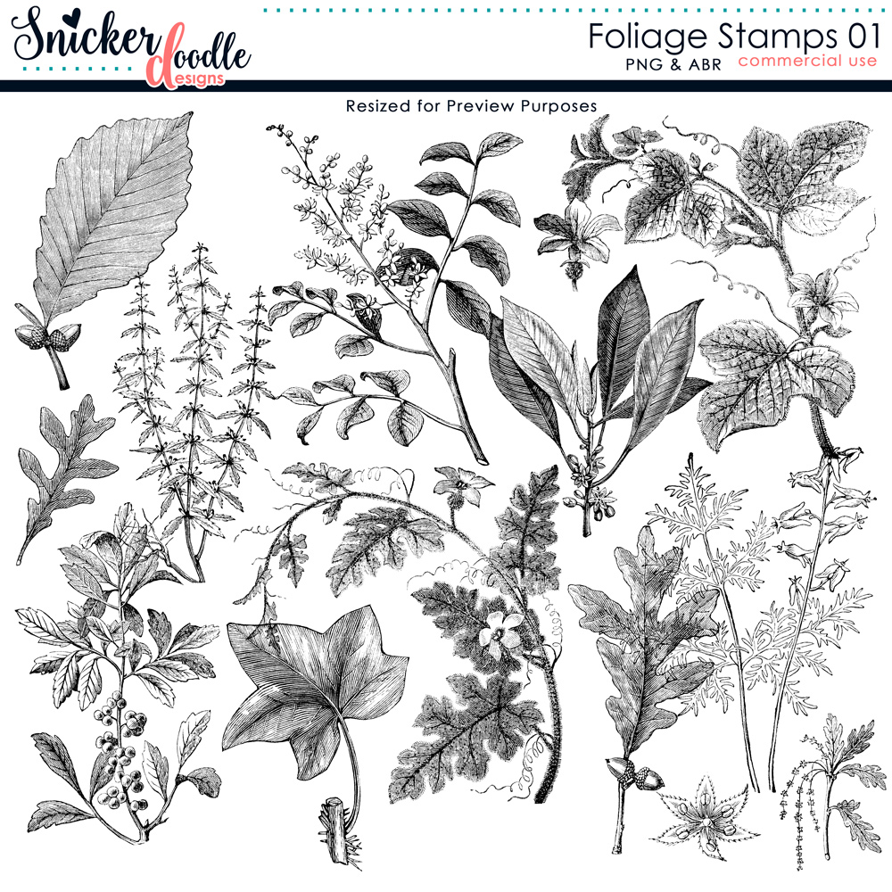 Foliage Stamps SnickerdoodleDesigns