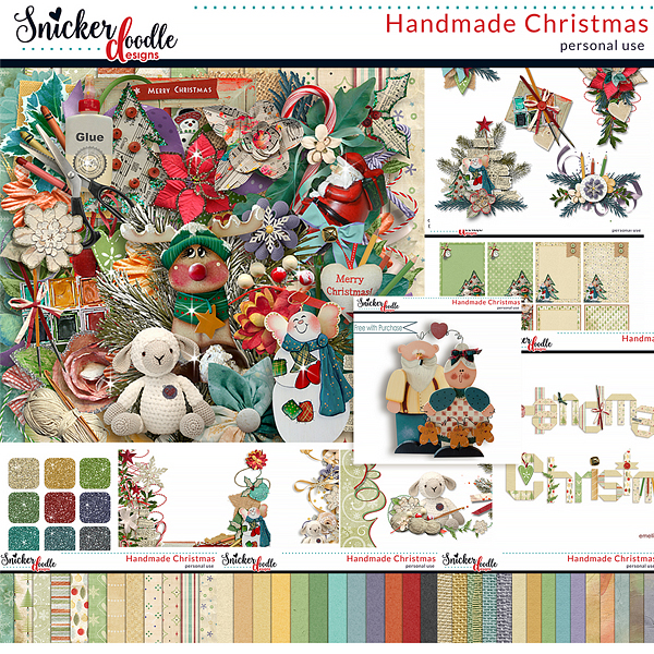 Handmade Christmas digital scrapbook kit by Snickerdoodle Designs