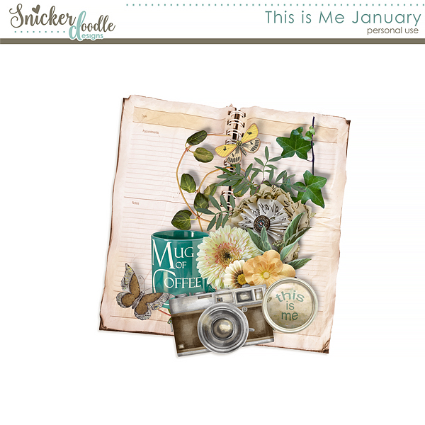 This is Me January digital scrapbooking freebie; Snickerdoodle Designs