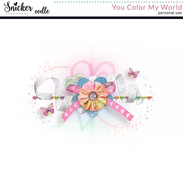Snickerdoodle Designs You Color My World Digital scrapbook Freebie