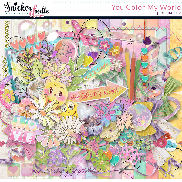You Color by World Digital Scrapbook Kit by Snickerdoodle Designs