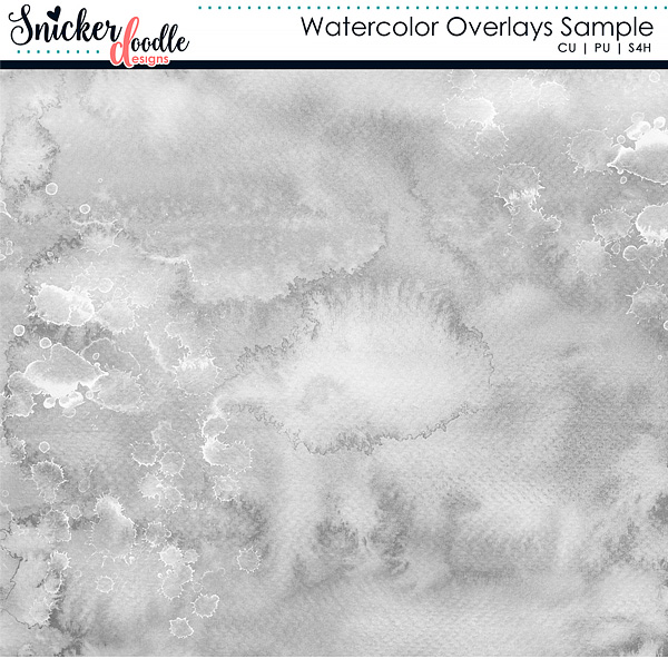 Watercolor Overlays Digital Scrapbooking Freebie by Snickerdoodle Designs