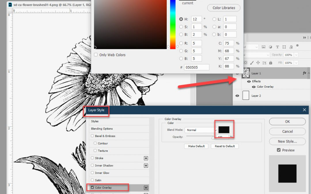 How to Color Black Brushes and Stamps in Photoshop, Part 1