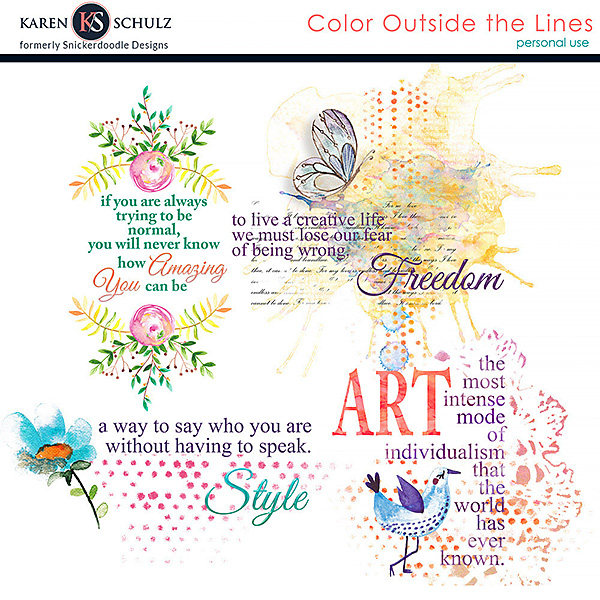 Color Outside the Lines Word Art