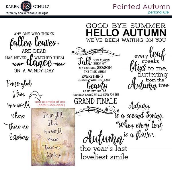 Painted Autumn Word Art