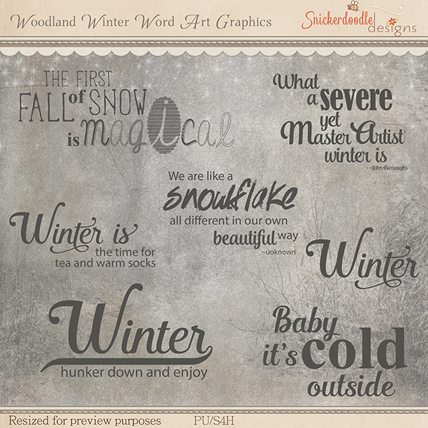 Woodland Winter Word Art