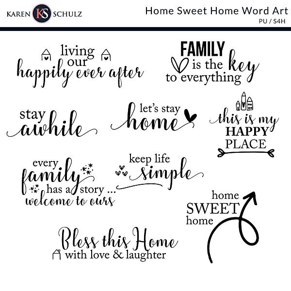 Home Sweet Home Word Art PV