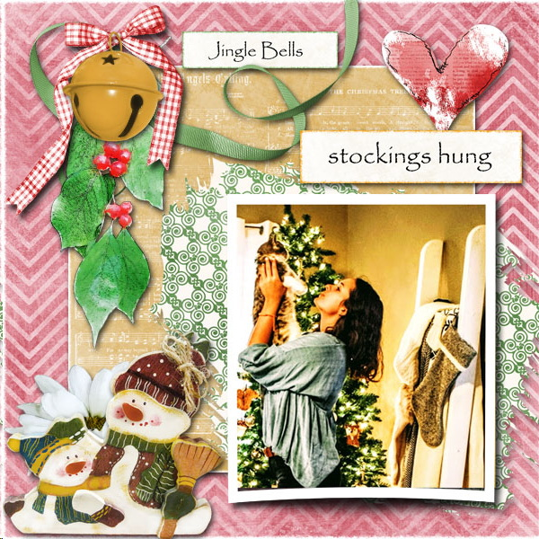 Touch of Christmas Digital Scrapbook Kit Layout